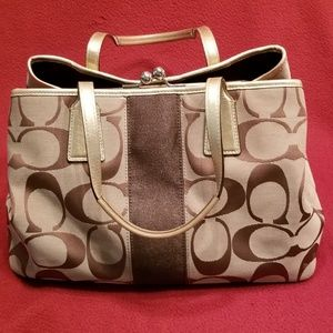 Coach Gold/Brown Signature Purse